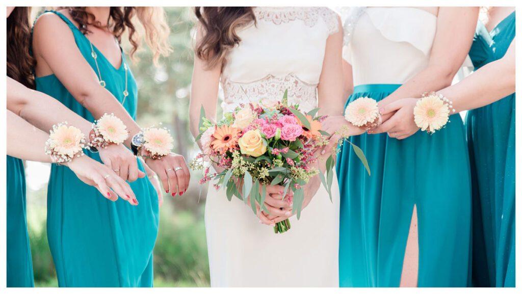 mariée demoiselles d'honneur turquoise