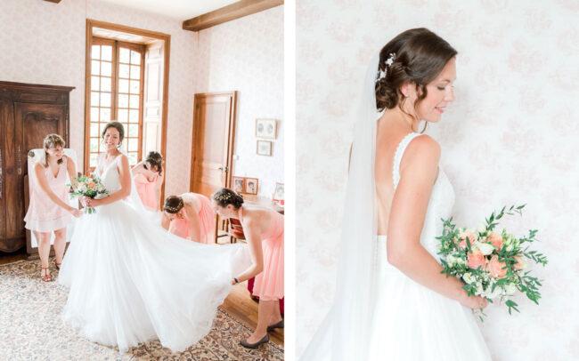 Préparatifs de la mariée en intérieur