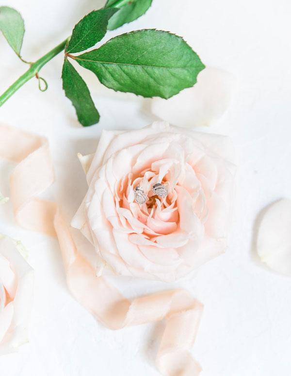 photo de boucles d'oreilles de mariée posées sur une rose
